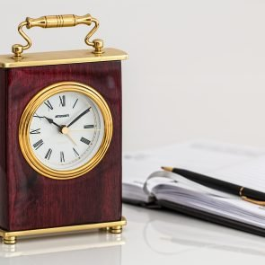 Carriage clock with pen and paper